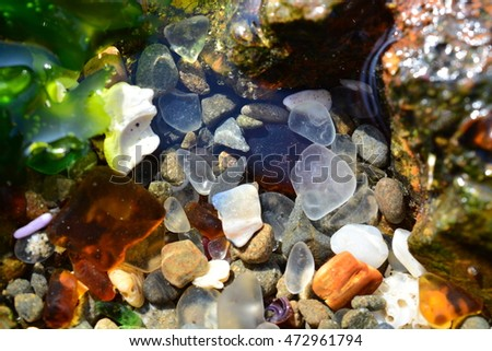 Closeup of pile of sea glass at glass beach, fort bragg