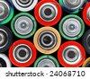 Closeup of pile of used alkaline batteries - stock