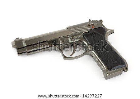 Closeup of pistol isolated on white background - stock photo