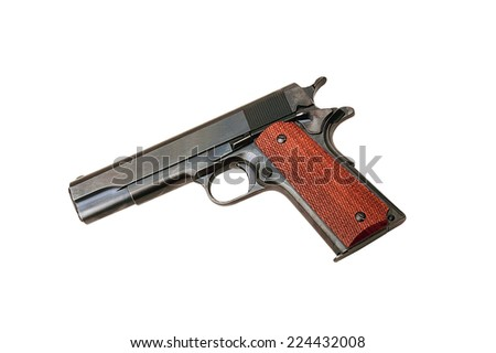 Closeup of pistol isolated on white background - stock photo