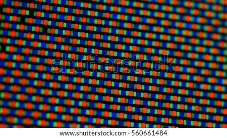 Closeup of pixels on an a plasma TV screen.