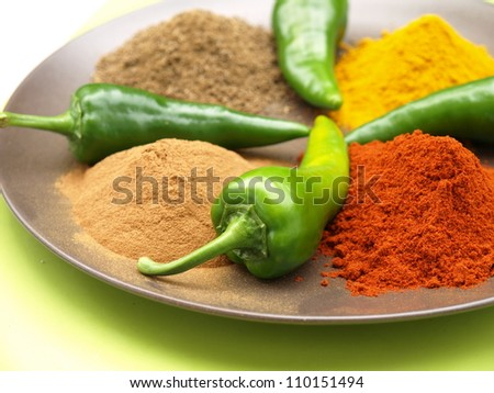 Closeup of plate with heaps of indian spice - stock photo