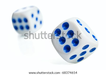 Closeup of poker dices thrown toward camera - stock photo