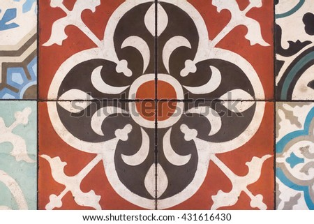 closeup of portugal azulejo tile - stock photo