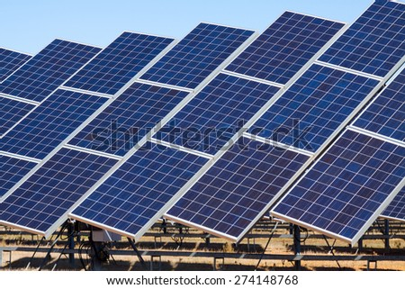 Closeup of power  solar panels - stock photo