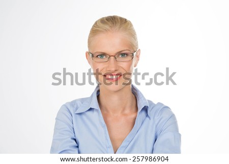 closeup of pretty woman with glasses - stock photo
