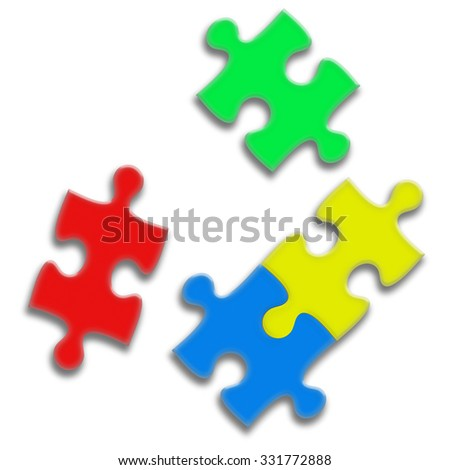 Closeup of puzzle pieces isolated on white background. Team business concept. Highly detailed illustration.