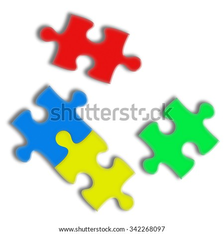 Closeup of puzzle pieces isolated on white background. Team business concept. Highly detailed illustration