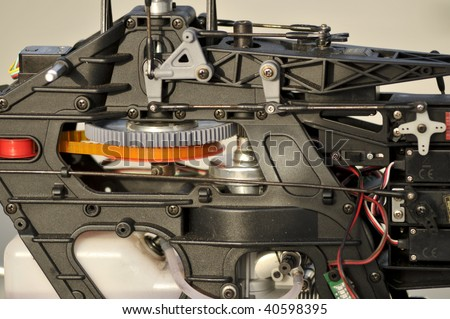 Closeup of radio controlled helicopter mechanism - stock photo