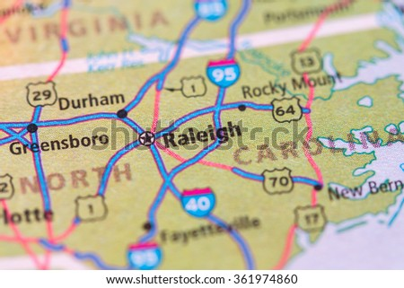 Closeup of Raleigh on a geographical map. - stock photo