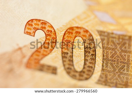 Closeup of 20 rand, South African currency.