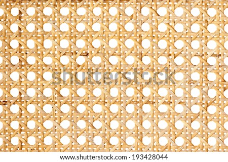 Closeup of rattan weave isolated on white background - stock photo