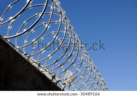 Closeup of razor wire - stock photo
