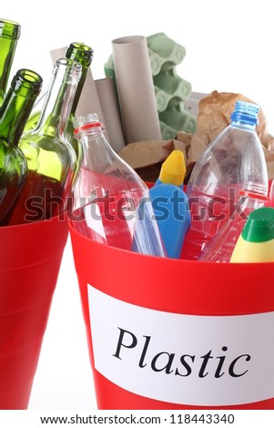 Closeup of recycle bin with plastic garbage - stock photo