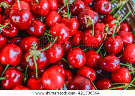 closeup of red and ripe cherries ideal for backgrounds