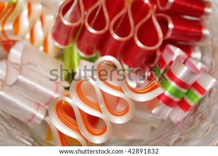 Closeup of red and white ribbon candy - stock photo