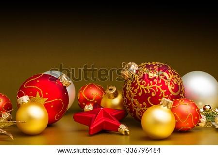 Closeup of red Christmas balls - stock photo