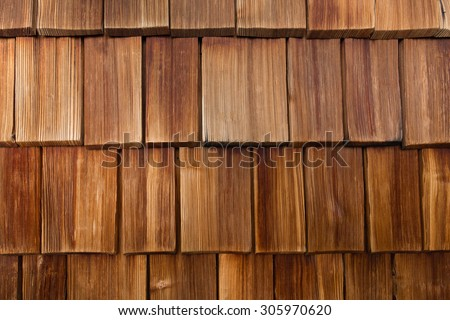 closeup of red wood shingles - stock photo