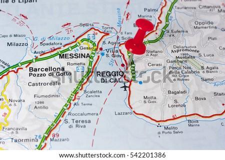 Closeup Reggio Calabria Italy On Map Stock Photo Royalty Free