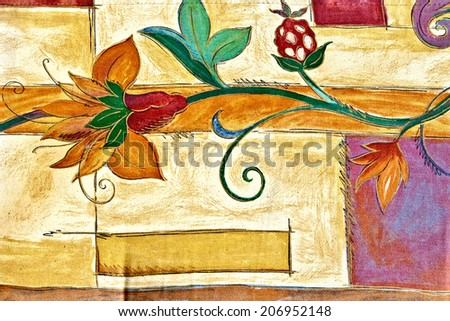 Closeup of retro  furniture upholstery texture with colorful graphical  floral image. Bright colors on light background. - stock photo