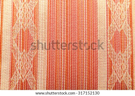 Closeup of retro pattern textile with selective focus - stock photo