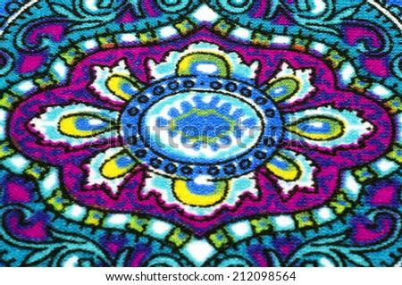 Closeup of retro tapestry fabric pattern pretty - stock photo