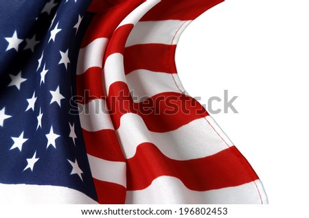 Closeup of rippled American flag on white background