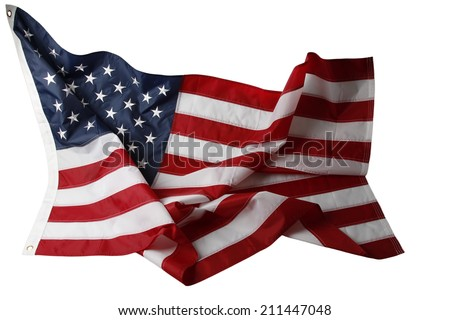 Closeup of rippled American flag on white background - stock photo