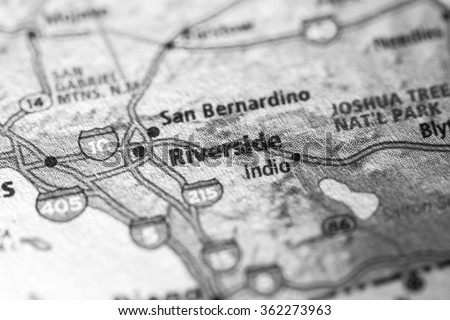 Closeup of Riverside on a geographical map. (black and white)