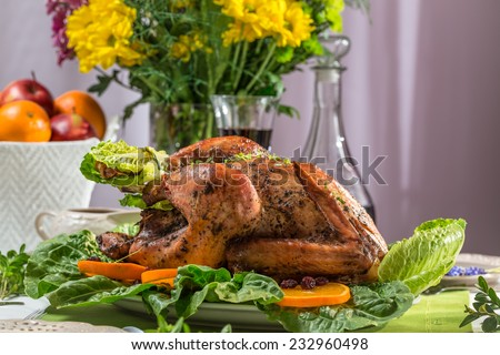 Closeup of roasted turkey for thanksgiving - stock photo