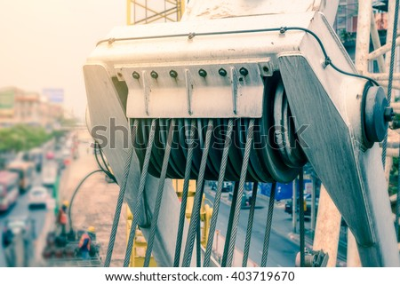 Closeup of roll crane sling. - stock photo