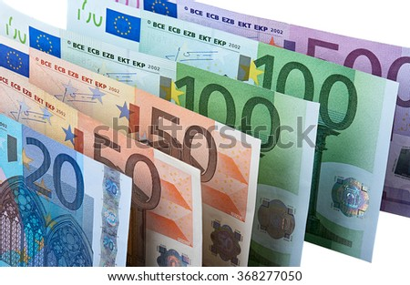 Closeup of row of euro banknotes. Image is isolated on white and the file includes a clipping path.