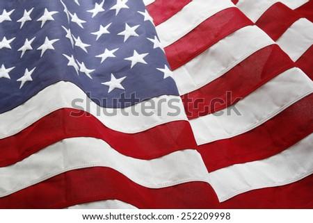 Closeup of ruffled American flag - stock photo