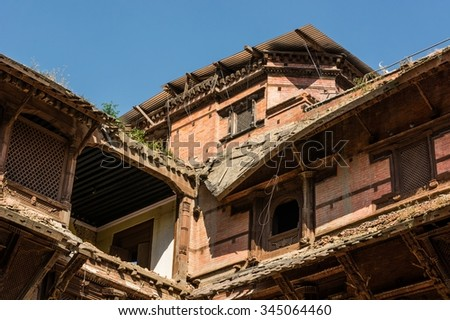 Closeup of ruined rooftops. Durbar square in Kathmandu. - stock photo