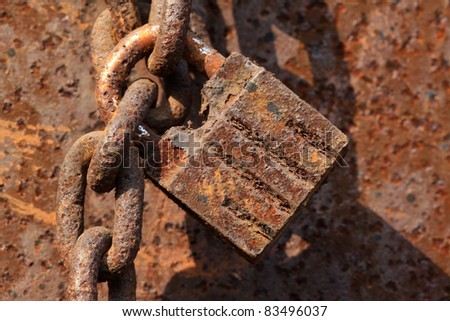 closeup of rusty lock, give a person a kind of nostalgic feeling - stock photo