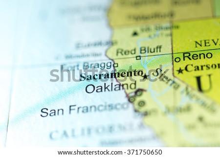 Closeup Of Sacramento California On A Political Map Of Usa
