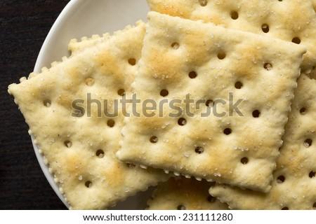 Closeup of saltine crackers. - stock photo