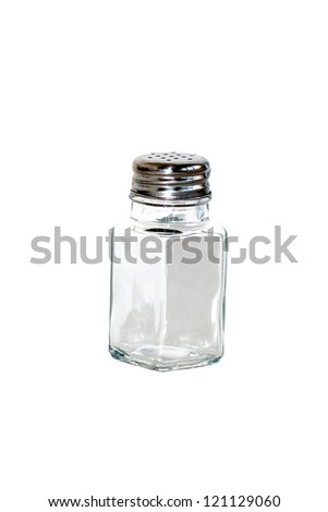 closeup of saltshaker isolated on white background