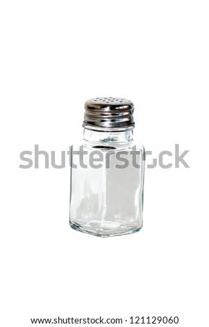 closeup of saltshaker isolated on white background - stock photo