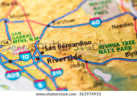 Closeup of San Bernardino on a geographical map. - stock photo