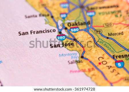 Closeup of San Jose on a geographical map. - stock photo