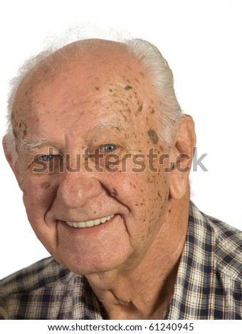 Closeup of senior man. Shot against a white background. - stock photo