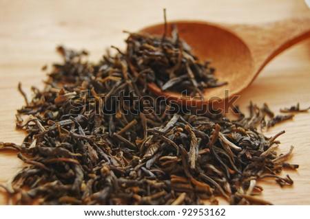 Closeup of set of China tea on bamboo mat - stock photo