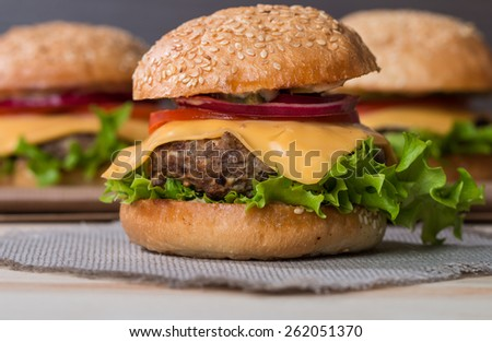 Closeup of set of classic burger made from beef and fresh vegetables - stock photo