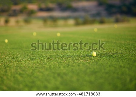 Closeup of several golf balls on the green
