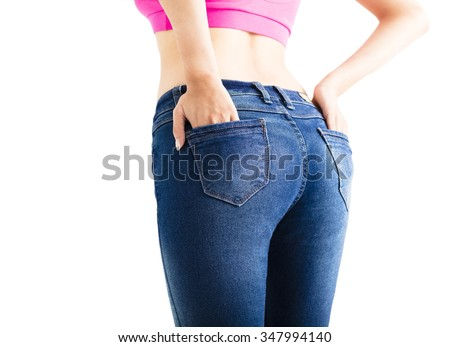 Closeup of sexy woman wearing jeans - stock photo