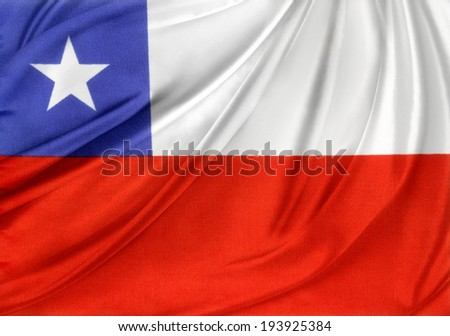 Closeup of silky Chile flag  - stock photo