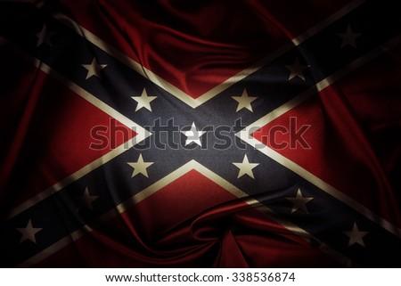 Closeup of silky Confederate flag - stock photo