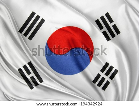 Closeup of silky South Korean flag - stock photo