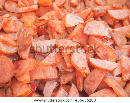 Closeup of sliced fried Chinese style sausages (Kun Cheong) - stock photo